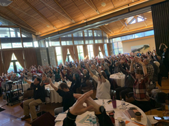 People at Parkinson's Event Moving their hands up and down